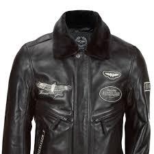 mens black real leather er jacket detachable fur collar aviator pilot style