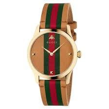 las gucci g timeless brown red and green striped leather strap watch ya1264077 reeds jewelers