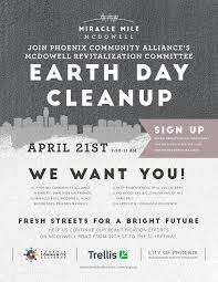 Community Clean Up Flyer Template Mcdowell Road Revitalization Committee Miracle Mile Earth Day