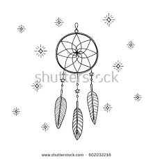Dream Catcher Outline Hand Drawn Outline Dream Catcher Feathers Stock Vector 100 6