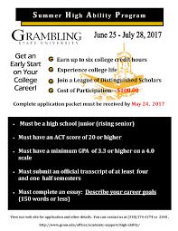grambling state university summer high ability pro high ability 2017 jun 25 jul 28 gsu