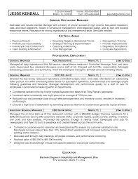 General Manager Resume Sample Simple Restaurant Manager Resume