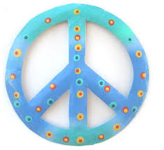coastal teal blue peace sign 8 wall decor haitian metal beach style outdoor wall art by mary b decorative art