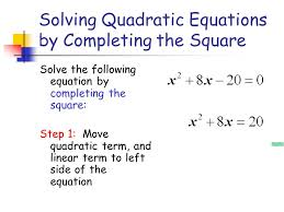 6 solving quadratic equations by completing the square solve the following equation by completing the square step 1 move quadratic term and linear term