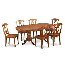 oval kitchen table set. East West Furniture Plainville Saddle Brown 7-Piece Dining Set With Oval Table Kitchen