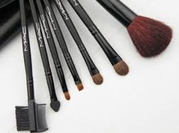 mac 7pcs makeup brush set with leather bag