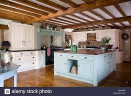 Pastel Kitchen Pastel Blue Island Unit In Large Cream Country Kitchen With Beamed