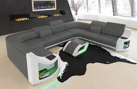 Details About Luxury Sectional Sofa Columbia U Shape With Led Genuine Leather Design Sofa
