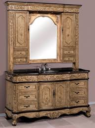 64 Bathroom Vanity 64 Inch Single Vanity With Marble Top And Hutch