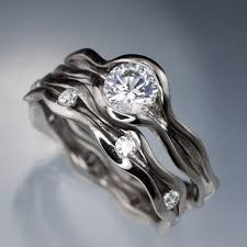 Wave White Sapphire Engagement Ring And Moissanite Eternity Band Make My Own Wedding Ring Set