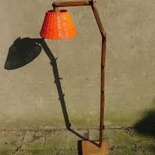 unknown designer wooden five hinge floor lamp