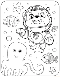 Paw Patrol Rubble Underwater Coloring Page Coloring Paw Patrol