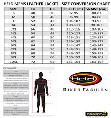 leather jacket size chart held varano ii leather motorcycle jacket the visor shop com