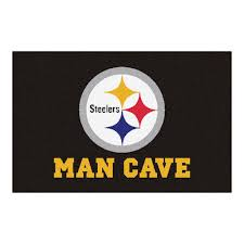 fanmats nfl pittsburgh steelers black man cave 2 ft x 3 ft area rug