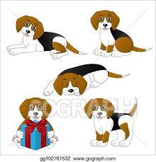 set of cute cartoon dogs beagle eps