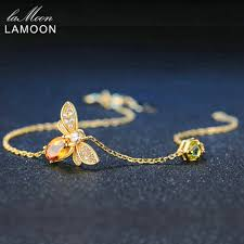 Designer Jewellery Us 10 27 40 Off Lamoon Cute Bee 925 Sterling Silver Bracelet Woman Love Citrine Gemstones Jewelry 14k Gold Plated Designer Jewellery Lmhi002 In