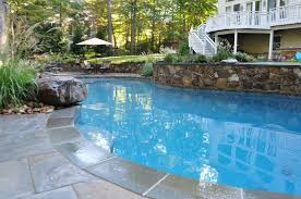 natural looking in ground pools. Custom In-ground Pool, Natural Stone Retaining Wall, Annapolis Looking In Ground Pools
