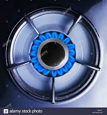 overhead view close up of stove top gas burner Stock Photo 20615724