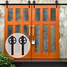 lwzh sliding barn door hardware kit black steel j shaped with big rollers track closet