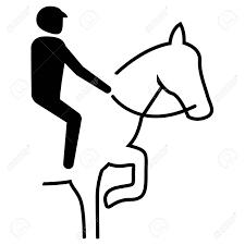 イラストはスポーツピクトグラム乗馬ドレッシングマーチングモードを表していますスポーツや機関の