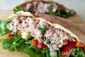 healthy yummy lunch ideas. lower-fat tuna salad pita with fresh veggies recipe. looking for healthy lunch ideas yummy