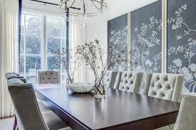 charcoal gray chinoiserie fabric art panels