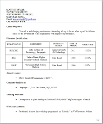 Simple Resume Format For Freshers Free Download Resume Corner