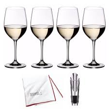 details about riedel vinum viognier chardonnay glasses set of 4 bonus wine pourer and cloth