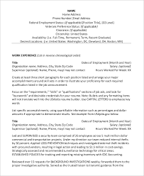 sample federal resume 8 examples in word pdf examples of federal resumes