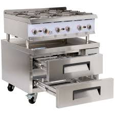 cooking performance group 36rrbnl 6 burner gas countertop range hot plate with 2 drawer refrigerated chef