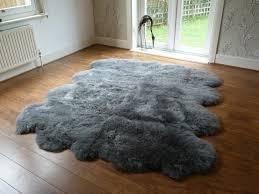 grey sheepskin rug on bathroom rugs indoor outdoor rug
