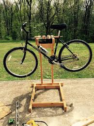 picture of homemade wooden bicycle stand with dual mounting
