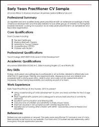 good summary for resume early years practitioner cv sample myperfectcv