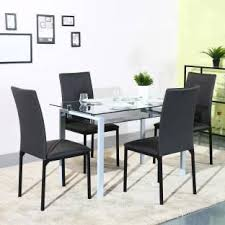 black dining room sets. Parin Glass 6 Seater Dining Set Black Room Sets