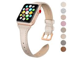 swees leather band compatible apple watch iwatch 38mm 40mm slim thin dressy elegant genuine leather