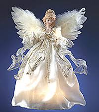 Lighted Angel Ivory with Gold Edge Ribbon Christmas Tree Topper