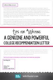 How To Ask For A Letter Of Recommendation For College Via Email Tips For Writing A College Recommendation Letter Weareteachers