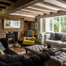 fashionable country living room furniture. Country Living Room With Exposed Brick Fireplace Fashionable Furniture U