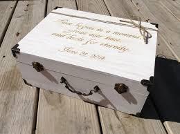 large engraved wooden card box suitcase card holder rustic wedding whitewash
