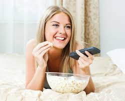 Image result for popcorn eating laughing