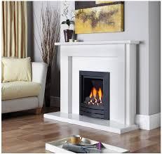 black magic fireplace with white surround