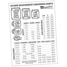 Kitchen Conversion Chart Cooking Baking Cups Measuring Spoons Magnetic Fridge