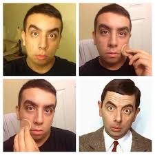 twitter with the makeuptransformation which feature men applying makeup in three panels followed by a fourth panel of a celebrity shown below