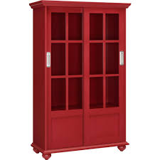 ameriwood home abel place red glass door bookcase