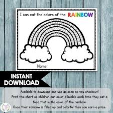 Try New Food Chart Food Of The Rainbow Coloring Chart Kids Incentive Sticker Chart Trying New Foods