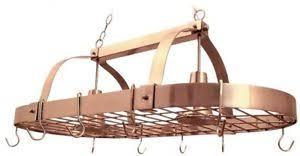 Elegant Designs Industrial Copper Kitchen Pot Rack 2 Light 10 Hooks 2 Chains