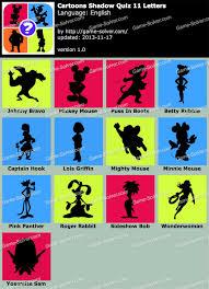 Cartoons Shadow Quiz 11 Letters