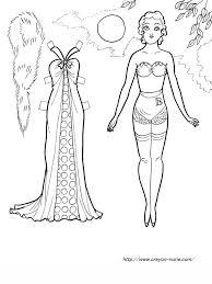 イブニングガウンのファッション着せ替え塗り絵の下絵原画