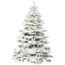 Flocked Alaskan 7.5' White Artificial Christmas Tree with 900 Dura-Lit  Clear Lights with