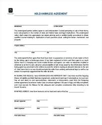 Blank Hold Harmless Agreement Form Real Estate Sample Business ...